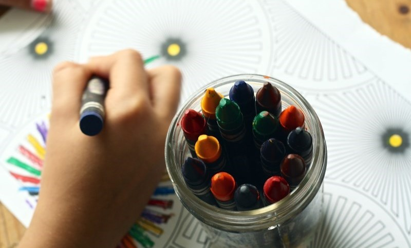 Child colouring at home