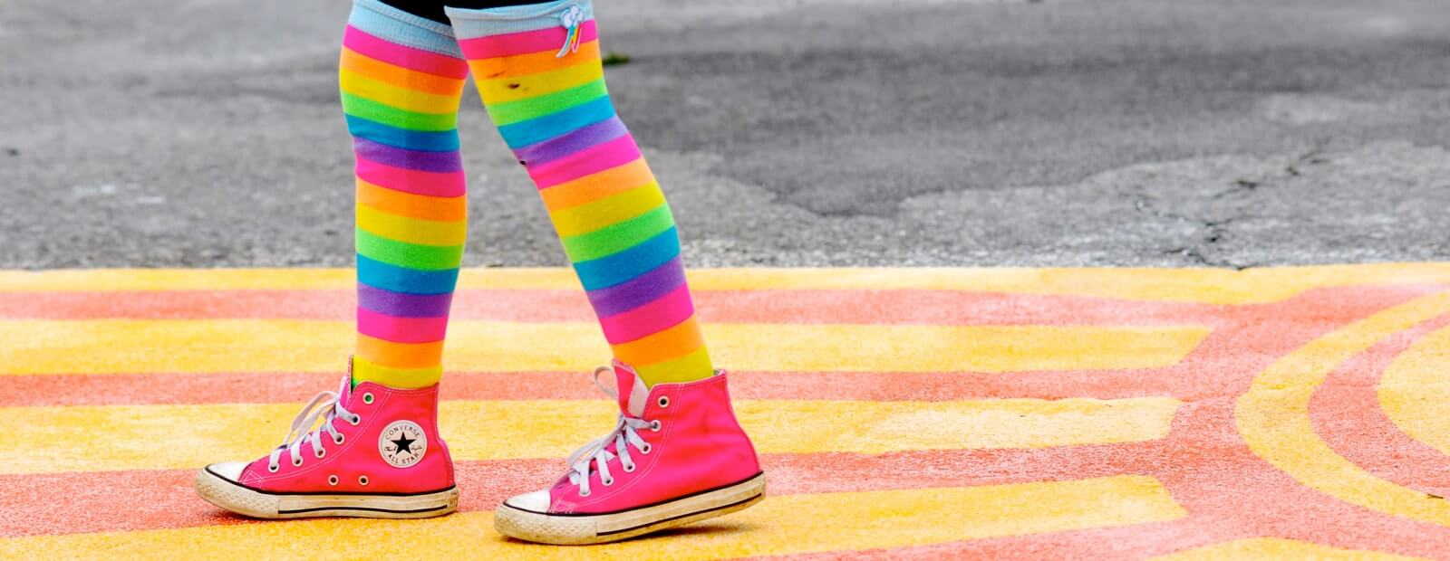 Striped socks at Lancaster crosswalk